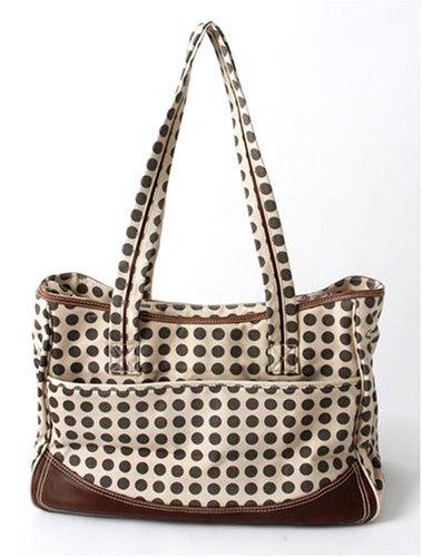Kalencom - Bolso de viaje, diseño de lunares, color marrón y beige