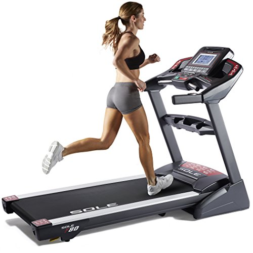 """SOLE Fitness F80 Folding Treadmill Machine, 3.5 CHP Motor, Power Incline, 22 x 60 Inches Running Surface, 9"""" LCD Display"""