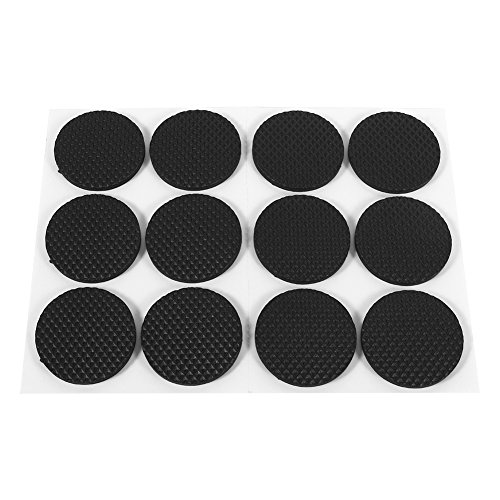 (Zerodis 12Pcs Circular Black Non-Slip Self Adhesive Rubber Feet Pads Protectors Furniture for Cabinets Small Appliances Electronics Picture Frames Furniture Drawers Cupboards)