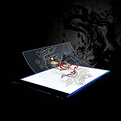 A4 Tracing Light Box, Portable Ultra Thin LED Pad for Stenciling, Calligraphy, Drawing and More, USB Powered Trace Lighted Panel for Kids and Adult Artists, Best Acrylic Display Lightbox Kit