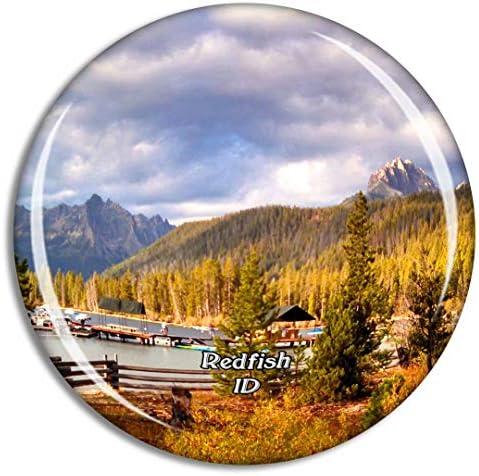 レッドフィッシュレイクアイダホ米国冷蔵庫マグネット3Dクリスタルガラス観光都市旅行お土産コレクションギフト強い冷蔵庫ステッカー