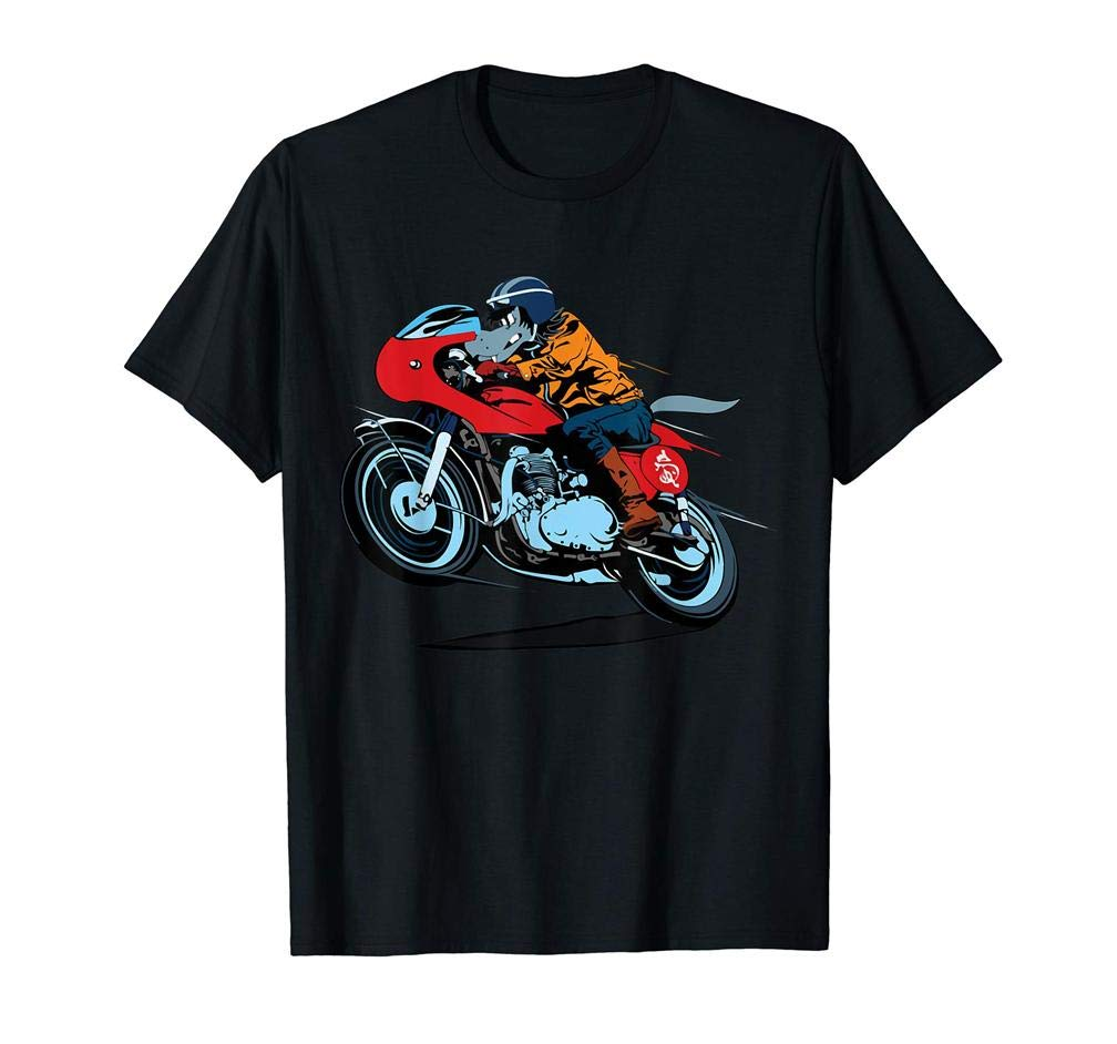 Cool Wolf Riding A Motorcycle S T Shirt Printing Short Sleeve Tee