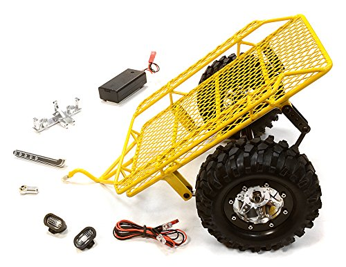 Integy RC Model Hop-ups C26340YELLOW Realistic Leaf Spring 1/10 Size Low Side Trailer (Toy) for Scale Crawler Truck