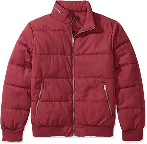 The Plus Project Men's Plus Size Quilted Jacket with Hidden Hood X-Large Wine Red ()