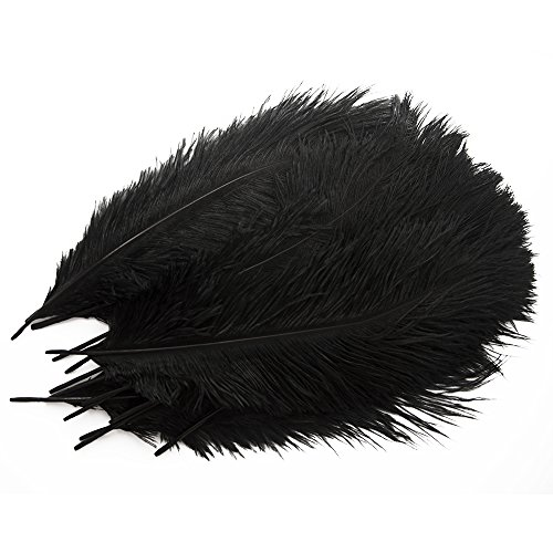 Piokio 20pcs Black Ostrich Feathers 12-14 Inches in Bulk for Gatsby Party Centerpieces, Wedding - Feather Ostrich Boa Black