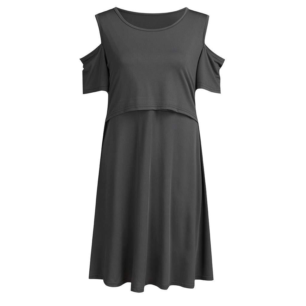 LOVELYOU Robe De Maternit/é /Él/égant Bretelles Manche Courte Solide Robe dallaitement Grossesse Enceinte Femme Vetement