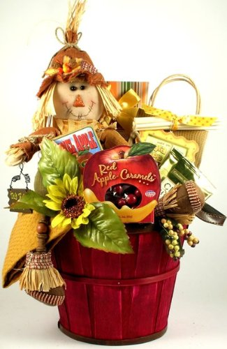 Scarecrow Fall Gourmet Hand-Painted Gift Basket Great for -