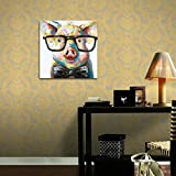 Muzagroo-Art-Pig-with-Glasses-Paintings-for-Living-Room