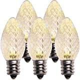 Holiday Lighting Outlet LED C7 Sun Warm White Replacement Christmas Light Bulbs, Commercial Grade, 3 Diodes (Led's) in Each Bulb, Fits Into E12 Sockets, 25 Bulb Count