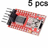 BAJIAN-LI 5PCS FT232RL FTDI USB to TTL Serial Adapter 3.3V 5.5V Module Mini Port for Arduino Mini Port