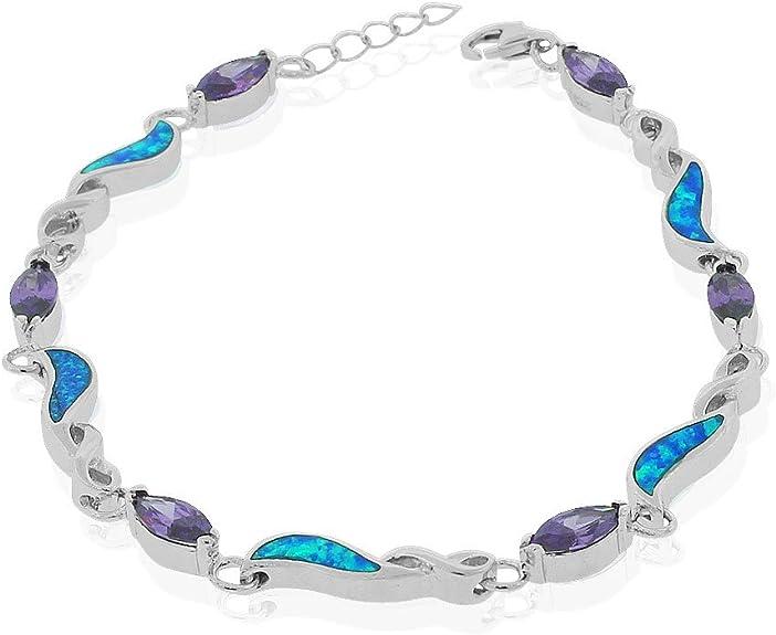Opal Crystal Tennis BraceletSky Blue OpalsCreamy White OpalsShimmering RivolisBeige Pearl CabochonsOctoberJune BirthstoneVictorian