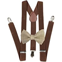 Hemp Bow ties and brown suspenders Set Combo Mens
