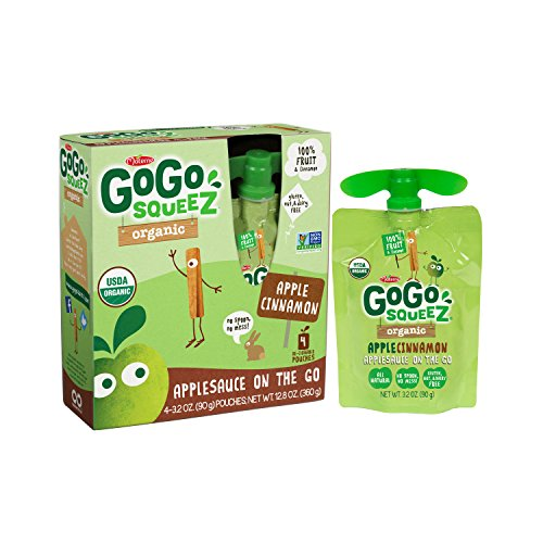 - GoGo SqueeZ Organic Applesauce on the Go, Apple Cinnamon, 3.2 Ounce Portable BPA-Free Pouches, Gluten-Free, 48 Total Pouches (12 Boxes with 4 Pouches Each)