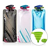Collapsible Water Bottle with Silicone Funnel, 3 Pack Foldable Water Bottles Environmental Water
