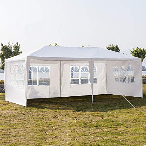 (SSLine White 10x20 ft Outdoor Waterproof Canopy Tent for Party Wedding Heavy Duty Patio Garden Gazebo Pavilion with Windows and Removable Sidewalls(4-Side Wall))