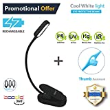 Easy Clip ON Reading Light, Book Light & Bed Light for Reading in Bed or Desk. Rechargeable, Eye-Care Protection, 20 Hour use, 2 Modes, 4 LED. Good for Music Stands, Kids, (Cool White Light)