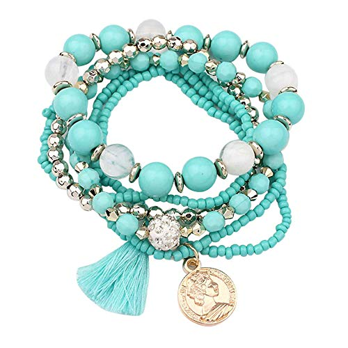 - FEDULK Womens Elegant Charm Jewelry Multilayer Pearl Beads Bangle Tassels Bracelets Creative Gifts(LightBlue)