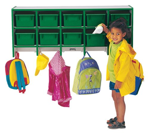 Rainbow Accents 0771JC005 10 Section Wall Mount Coat Locker with Trays, Teal