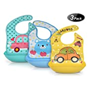 Baby Bib, BingoKid Cute Waterproof Soft Silicone Toddler Bibs, with Big Roll up Pocket Easy to Clean, Dry, Portable, Set of 3 Color …