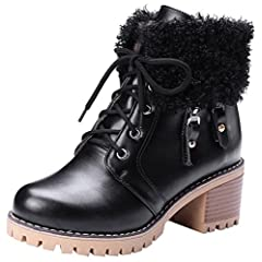 Women's Trendy Stacked Medium Block Heel Platform Ankle Booties Round Toe Lace up Short Snow Boots With Zipper