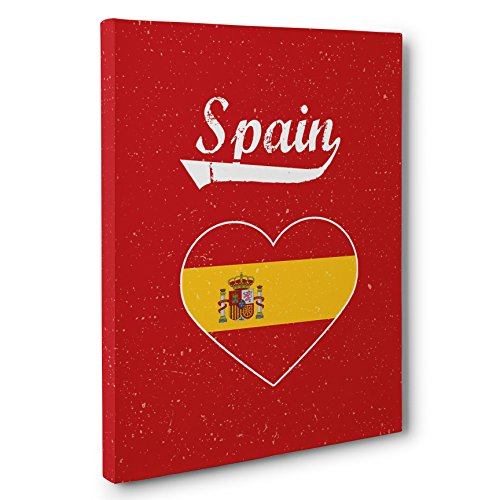 Retro Spain Heart Canvas Wall Art by Paper Blast