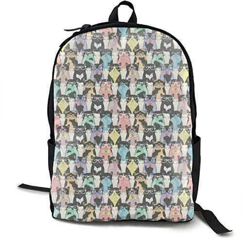 DKFDS Backpacks Colorful Cats Unisex Classic Lightweight Laptop School Leisure Backpack Water Resistant Travel Bag ()