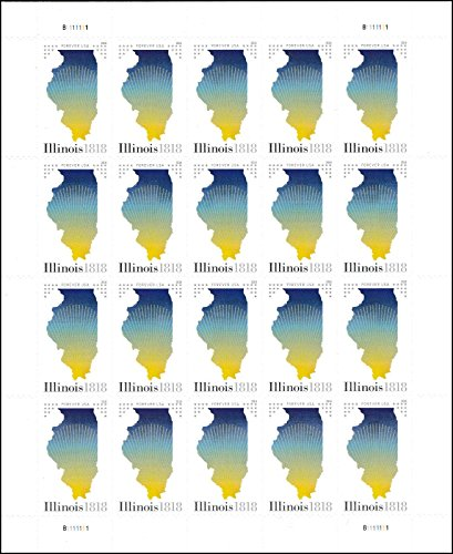 2018 Illinois Statehood Pane of 20 Forever Postage Stamps By USPS