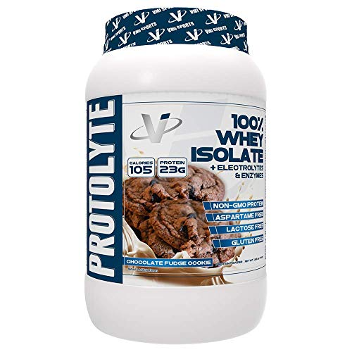 VMI Sports ProtoLyte 100% Whey Isolate Protein Powder, Chocolate Fudge Cookie, Zero Sugar with added Electrolytes & Enzymes, 1.63lb (Creatine Pump Fuel)