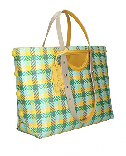 TWIST BAG HPO BORSA SHOPPING F378 PAGLIA TURCHESE/GIALLO MIS. MEDIA