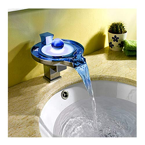 Waterfall Sink Faucet Creative Water Temperature Color Changing LED Light Tap Hot and Cold Mixed Faucets for Hotels/Bars/Office/Buildings/Airports/Bathroom