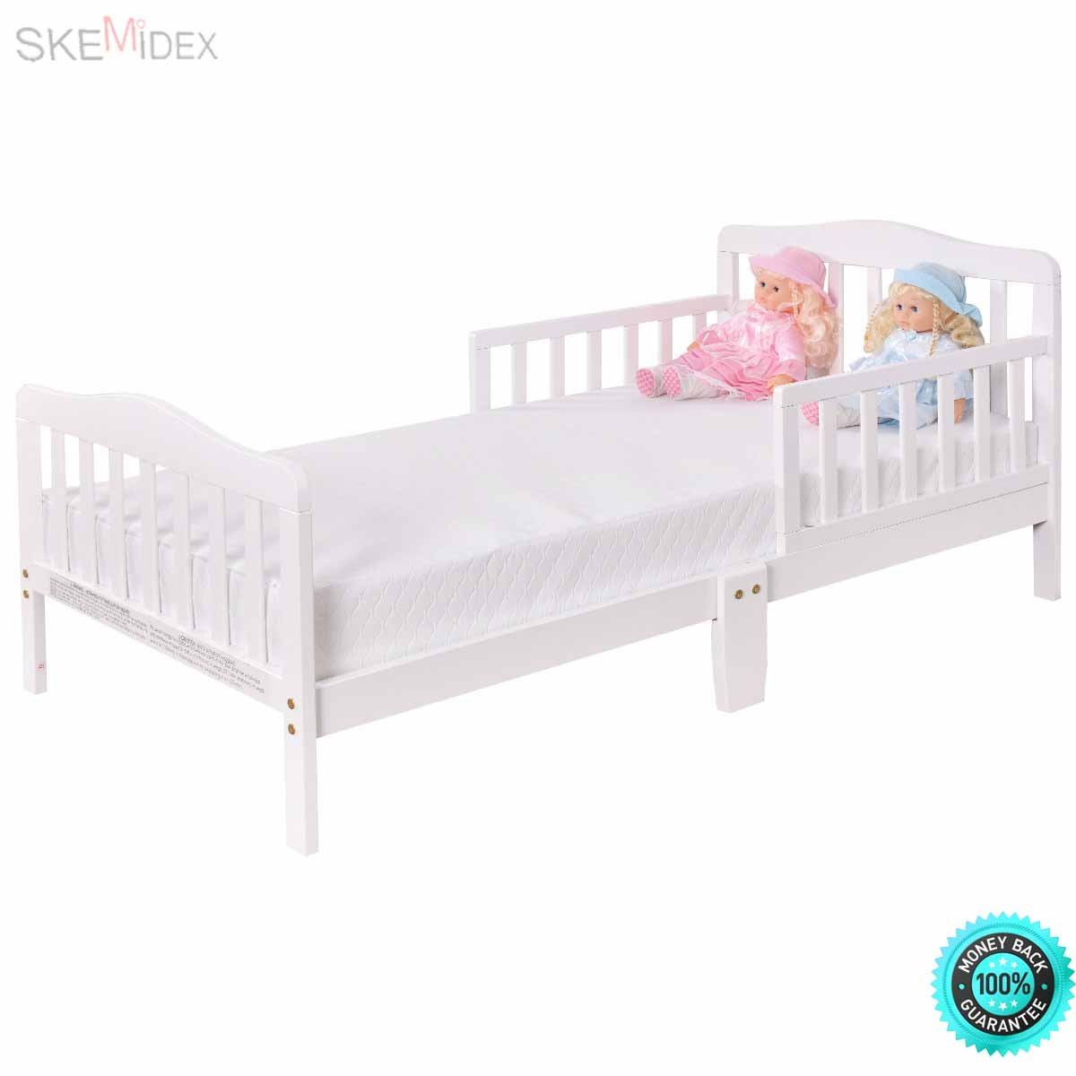 Skemidex baby toddler bed kids children wood bedroom furniture w safety rails white introduce your child to his first real bed with this toddler bed that
