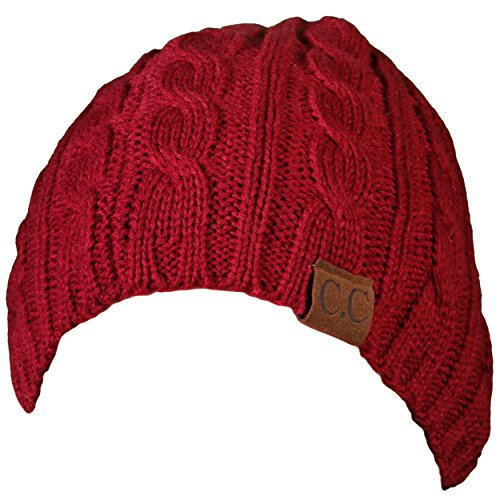 H-6031a-64 - Girls Cable Knit Beanie - Burgundy (Outfits For Tweens)