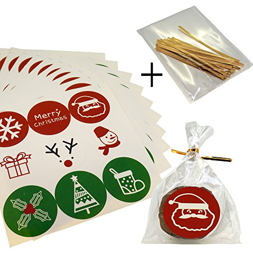 Christmas Holiday Cute Sticker with Cello Treat Bags for Cookie Biscuits Candy Cake Baking Packaging, Pack of 90 Stickers and 100 Bags (8x12cm)