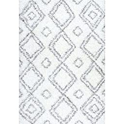 Cozy Soft and Plush Moroccan White Shag Area Rugs, 5 Feet by 8 Feet (5\' x 8\')