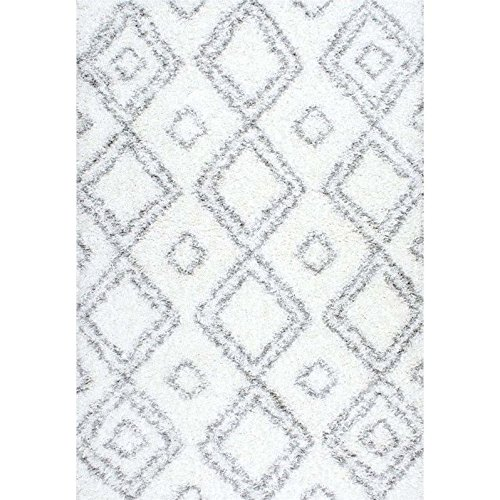 Cozy Soft and Plush Moroccan White Shag Area Rugs, 4 Feet by 6 Feet (4' x 6')