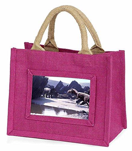 Advanta–Mini Pink Jute Bag Dinosaurier Print Little Mädchen klein Einkaufstasche Weihnachten Geschenk, Jute, pink, 25,5x 21x 2cm