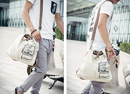 EasyHui Canvas Printed Satchel Convertible Backpack Crossbody Bag Women Vintage Shoulder Handbag Unisex Travel Backpack Beige by EasyHui (Image #5)