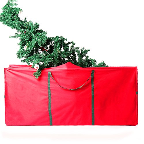 Large Durable Christmas Tree Storage Bag, Ehonestbuy 600D Oxford Holiday Rolling Tree Bag Organizer for up to 9' Christmas Tree, Sleek Zipper and Handle Strap (Huge Trees Christmas Artificial)
