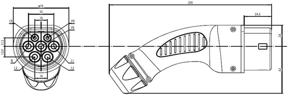 KHONS EV Charge Type 2 Prise 32/Amp Triphase EV Chargeur Plug Femelle