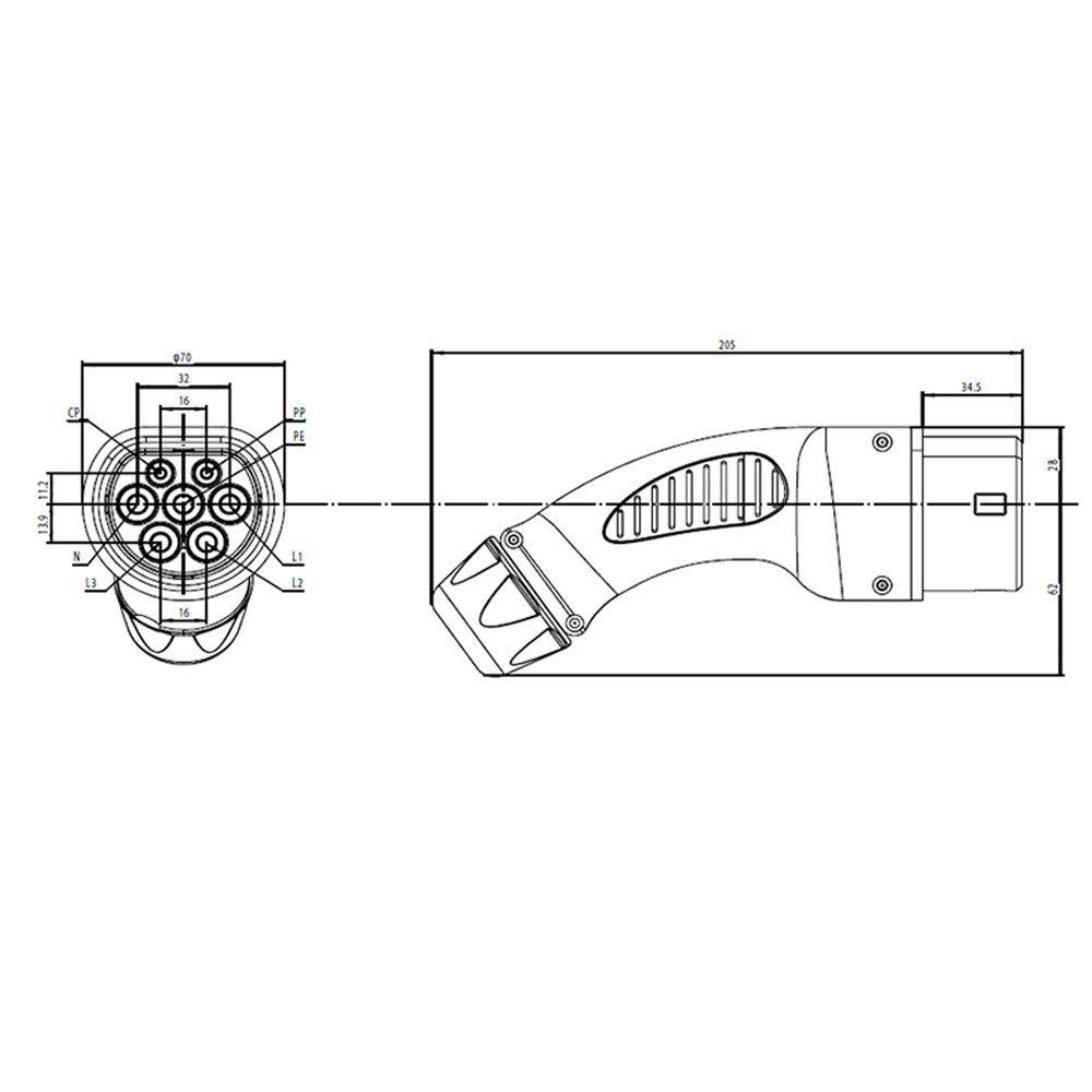 EV Cargador Enchufe Tipo 2 32A Mennekes Trif/ásico Hembra Enchufe para Coche Est/ándar Europeo IEC 62196-2