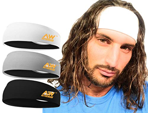 Activewear Cooling Headband, 3 Pack Workout Headband, Sport Headbands for Running, Crossfit, Working Out, Lifting, Men and Woman's Headbands, Polyester and Lycra - Moisture Wicking Cooling Headband