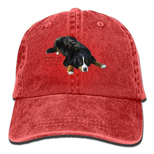 BESHOWER Bernese Mountain Dog Rug Pose Sweat Adult Cotton Washed Denim Leisure Caps Adjustable Natural