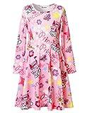 Jxstar Big Girl's Princess Dress Printed for Skater Queen Magic Castle Pattern Long Sleeve Dress Castle 140