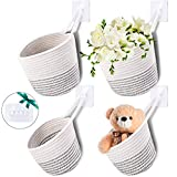 4 Pieces Wall Hanging Organizer Storage Basket Cute Cotton Rope Woven Basket Closet Storage Bin Hanging Rope Basket with 4 Wall Hooks for Baby Home Room Closet Decoration