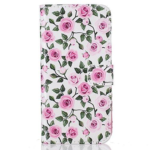 Embossing Patterned Leather Card Slots Tasche Hüllen Schutzhülle - Case für iPhone 7 Plus - Roses Seamless Pattern
