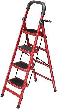 M-Y-S 4 Escalera plegable, taburete plegable de acero con pedal ancho antideslizante Cómoda escalera de mano con agarre Capacidad de 330 lb, herramienta colocable de nivel superior (Color : Red): Amazon.es: Bricolaje
