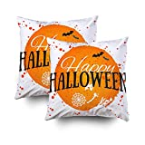 ROOLAYS Decorative Throw Square Pillow Case Cover 18X18Inch,Cotton Cushion Covers Halloween Happy Halloween Poster Bright Both Sides Printing Invisible Zipper Home Sofa Decor Sets 2 PCS Pillowcase