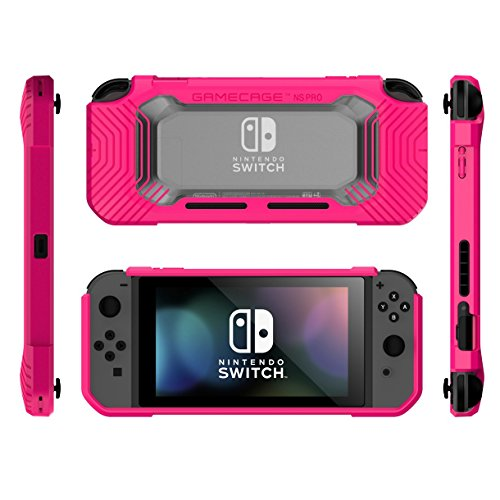 Nintendo Switch Protection Case Heavy Duty Cover (2 Card Storage) Easy Snap-on Ergonomic Design (Free Lanyard Included) Hot Pink Rubberized Flex TPU Transparent Hard PC FortNite Edition GameCage NSPro -