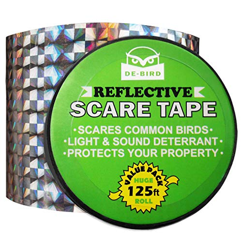 Bird Repellent Scare Tape- Simple Control Device to Keep Away Woodpeckers, Pigeons, Grackles and...