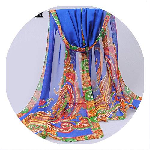 (Chiffon Scarfs for Women Silk Scarves Summer Sunscreen Paisley Scarves Lady Scarf Shawl Wrap Spring Foulard P5A16277,P5A16277 blue)